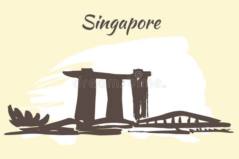 Marina Bay sands hotel and Art Science museum vector illustration