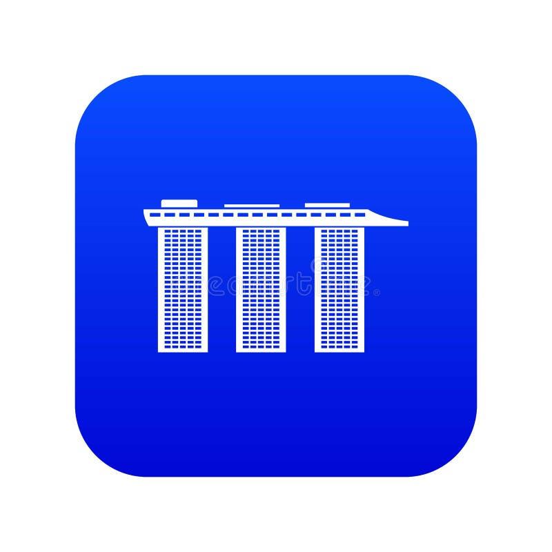 Marina Bay Sands Hotel, azul digital do ícone de Singapura ilustração stock