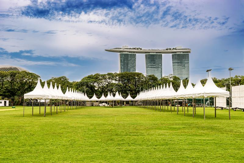 Marina Bay Sands hotel in downtown of Singapore city. Park in Singapure and Futuristic architecture design Marina Bay Sands hotel and flower dome at the royalty free stock photo