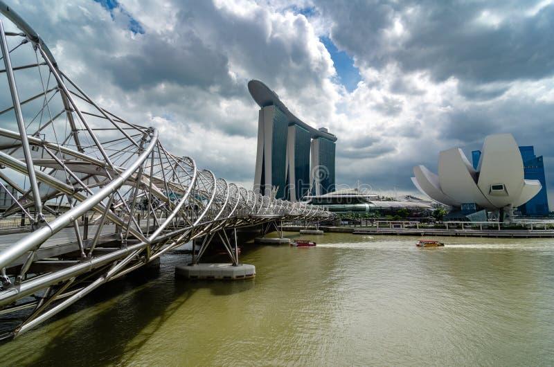 The Marina Bay Sands hotel and Helix Bridge, Singapore stock photo