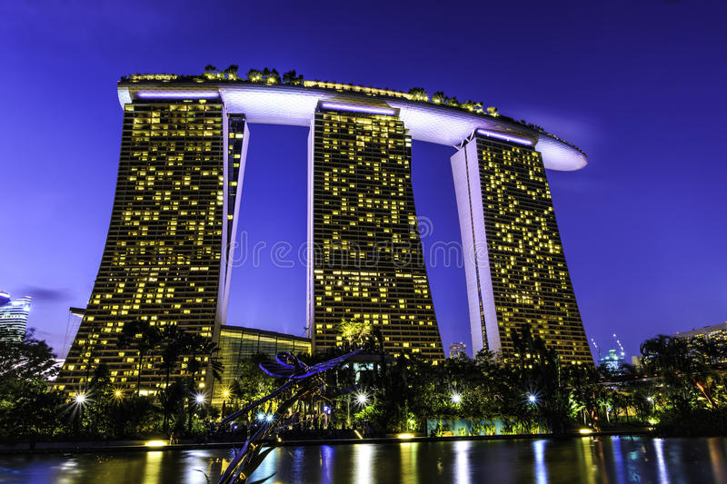 Marina Bay Sands Hotel. Marina Bay Sands is an integrated resort fronting Marina Bay in Singapore. Developed by Las Vegas Sands (LVS), it is billed as the world' royalty free stock image