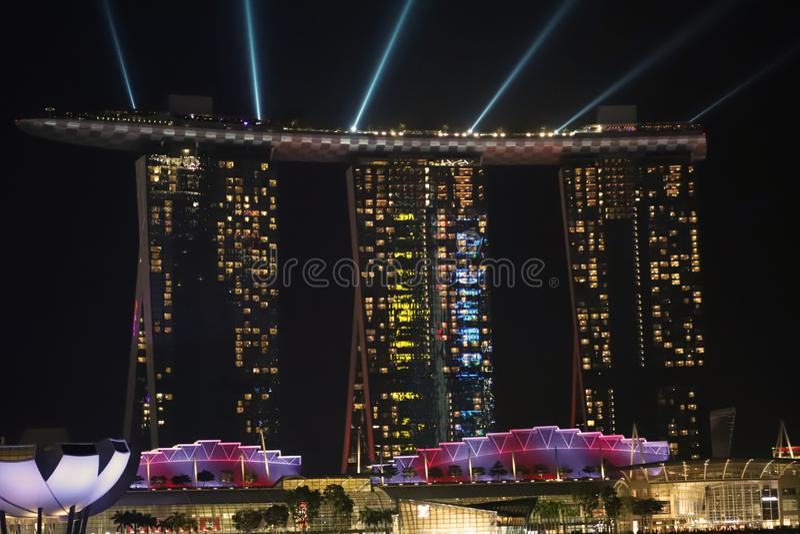 Marina bay sands hotel Singapore. Marina bay sands hotel at night royalty free stock photos