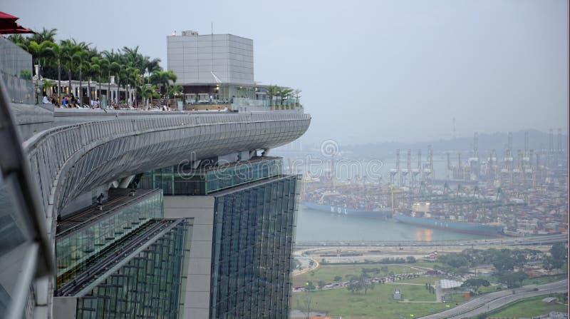 Marina Bay Sands-Hotel und Haupthafen von Singapur stockfoto