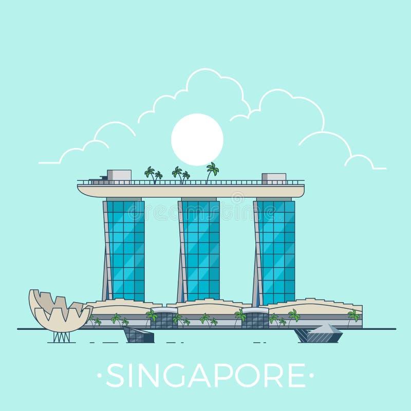 Marina Bay Sands i Singapore linjär plan vektor D royaltyfri illustrationer