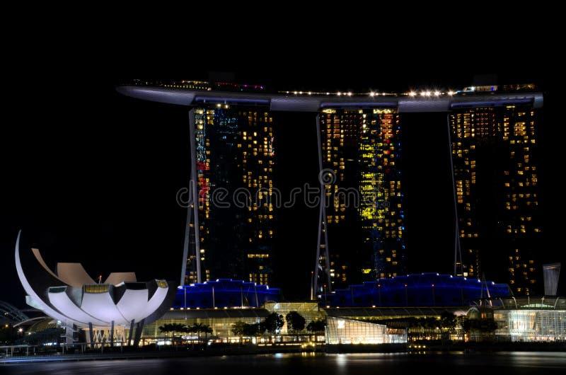 Marina Bay Sands integrated resort hotel and casino and ArtScience Museum Singapore Marina Bay royalty free stock photos