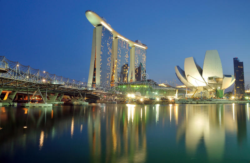 Marina Bay Sands Landscape. The Marina Bay Sands Hotel and Integrated Resort, the Double Helix Bridge and the Singapore Arts and Science Museum stock photos