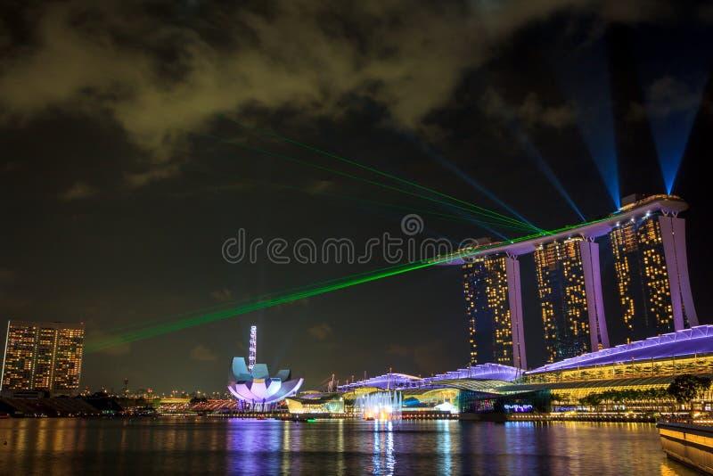 Marina Bay Sands Laser Show fotografia de stock royalty free