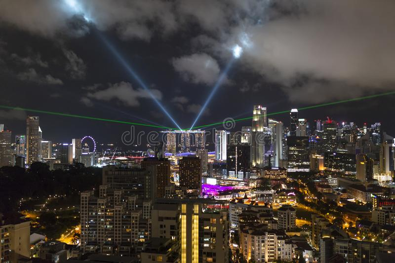 Marina Bay Sands Light Show fotografia de stock royalty free