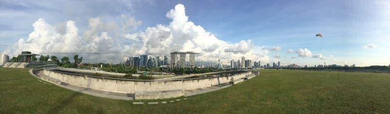 Marina Bay Sands from Marina Barrage stock image