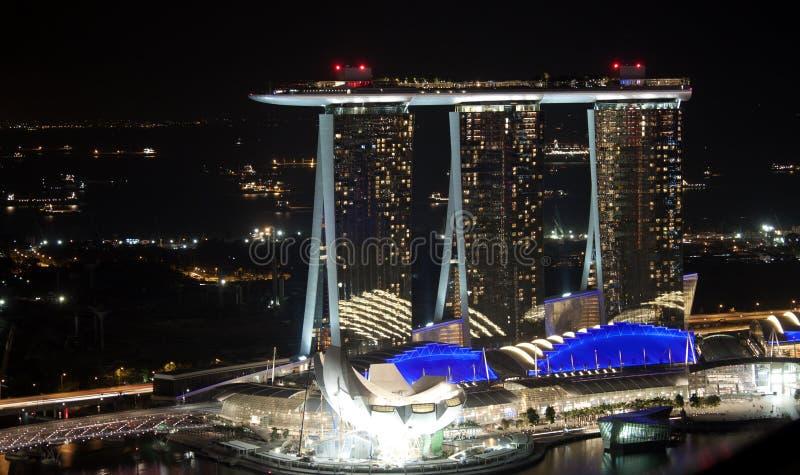 Marina Bay Sands at night stock images