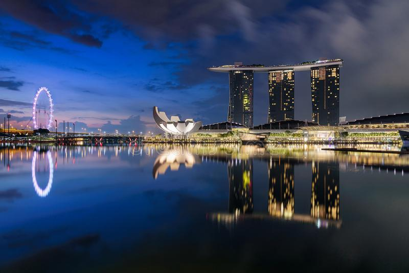 Marina bay Sands with reflections stock image