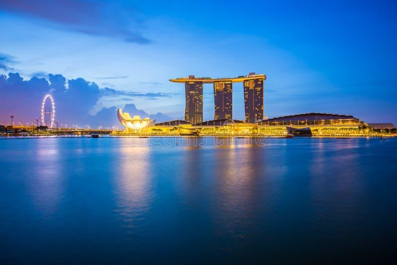 Marina Bay Sands and Singapore city skyline at twilight royalty free stock photography