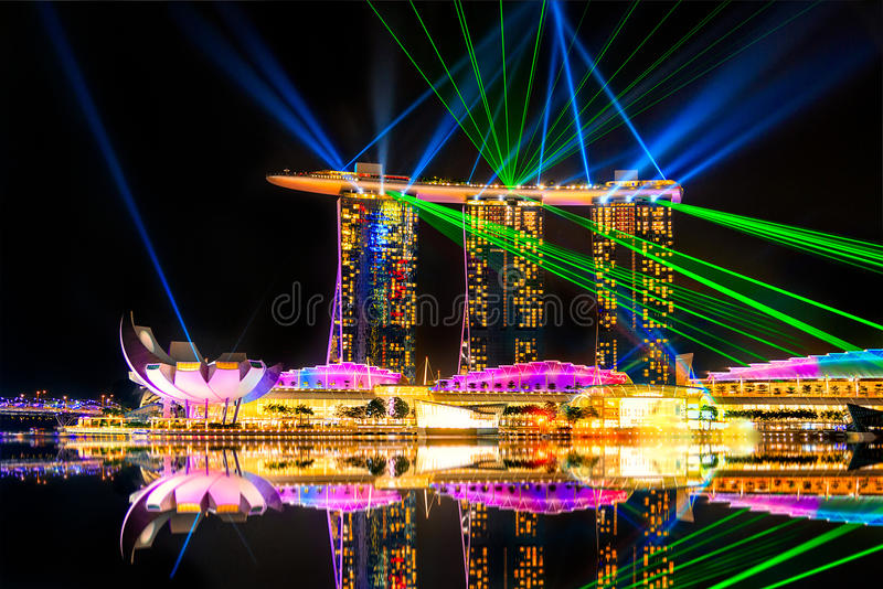 Marina Bay Sands, Singapore. Lasershow at Marina Bay Sands royalty free stock photo