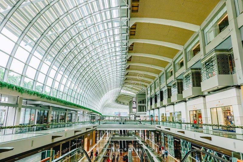 Marina Bay Sands Singapore - November 24, 2018: inre av shoppar på Marina Bay Sands Mall Marina Bay Sands är en av royaltyfri fotografi