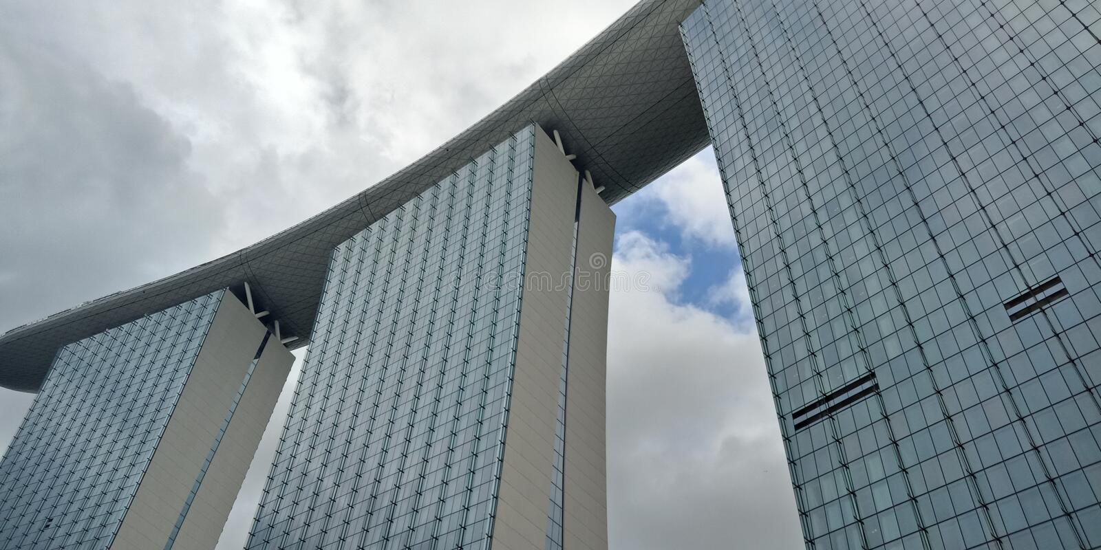 Marina Bay Sands Singapore. Taken at 1pm, Giant buildings made in singapore stock image