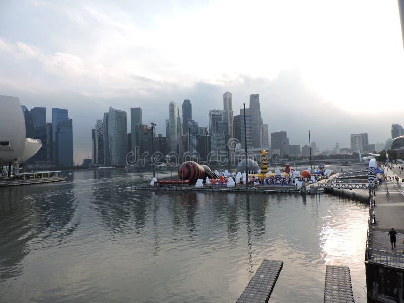 Marina Bay Singapore sikt i eftermiddagen fotografering för bildbyråer