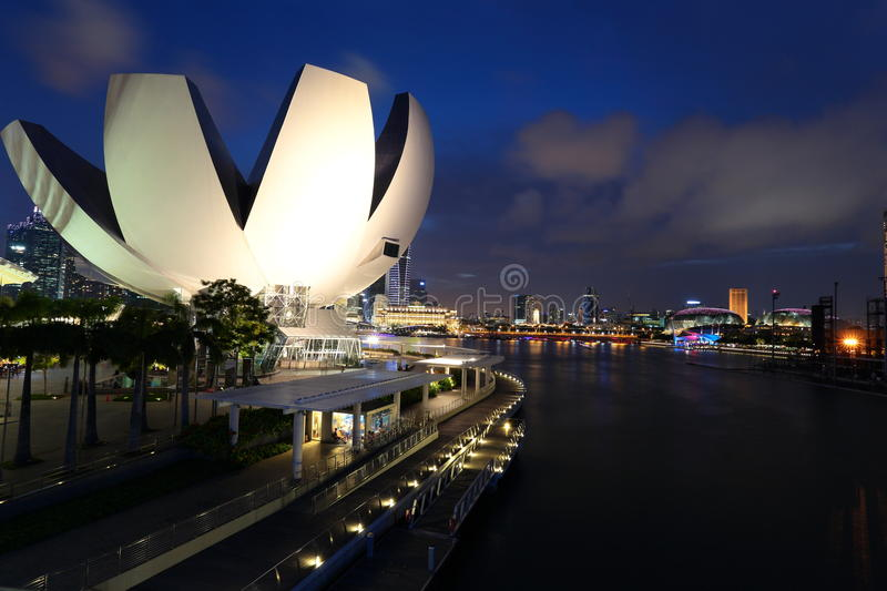 Marina Bay, Singapore. Skyline of the Marina Bay, Singapore at night, featuring the Modern Art Museum royalty free stock image