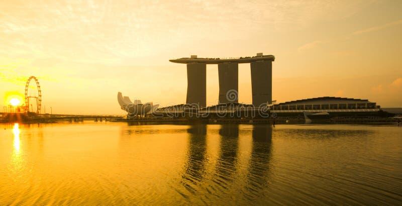 Marina Bay view with sunrise. Singapore stock photos