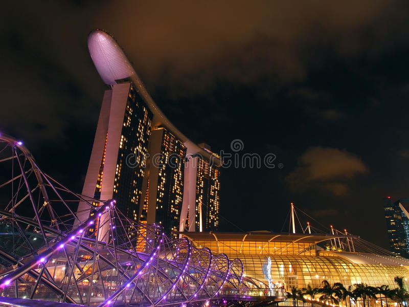 Download The Marina Bay waterfront stock photo. Image of night - 25825288
