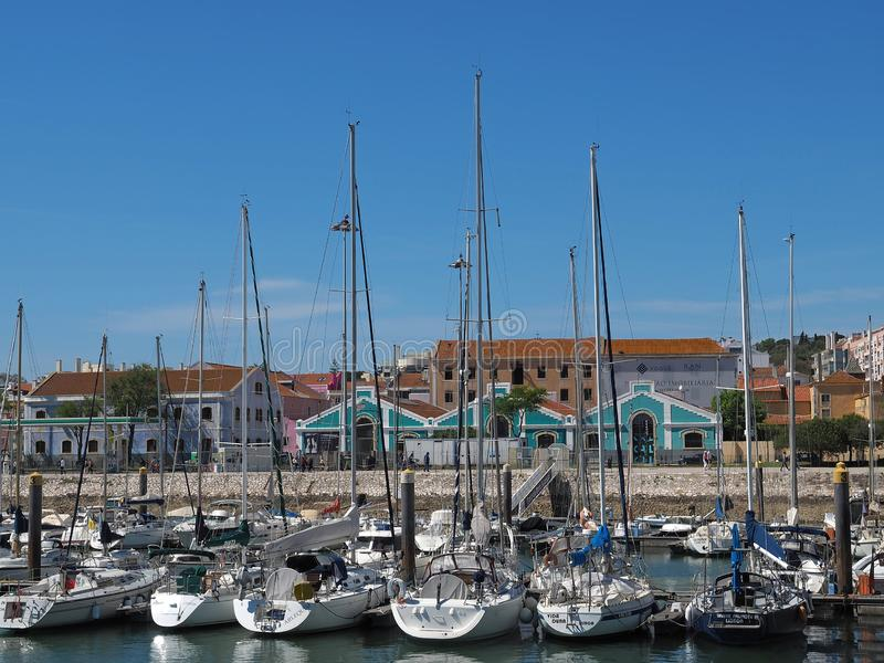 Marina of Belem in Lisbon with boats stock photo
