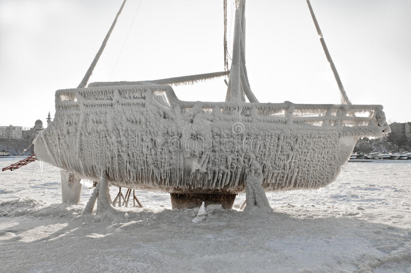 Download Marina Boat Under Ice After Blizzard Stock Photo - Image: 23298112