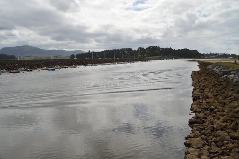 Marina With Boats Moored In Pedrena royaltyfria bilder