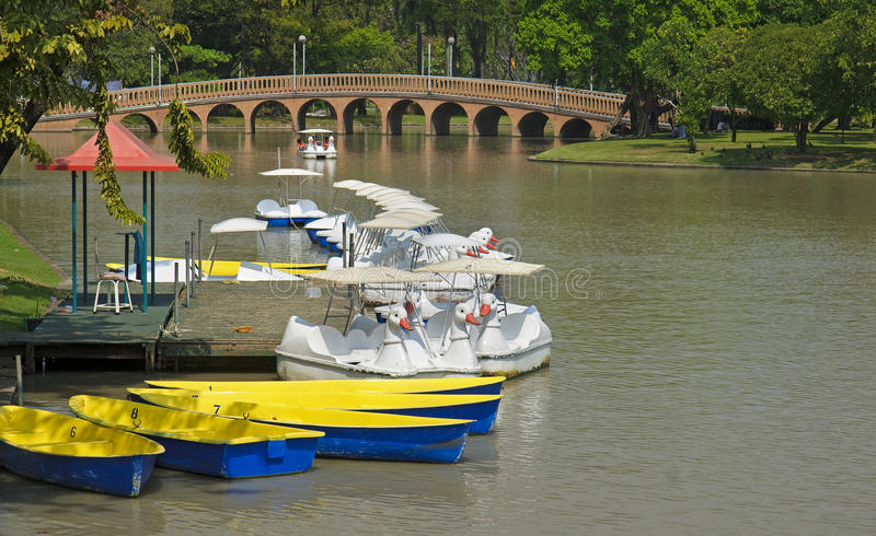 Marina with boats for rent in Lumphini Park royalty free stock photo