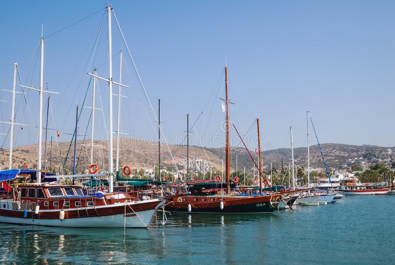 Marina in Bodrum. Bodrum, Turkey - August 29, 2007: Sailing boats in marina of Bodrum city royalty free stock images