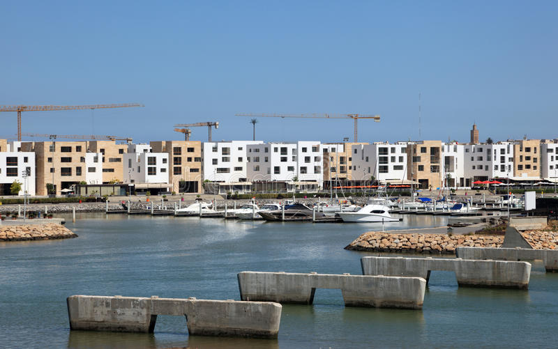 Marina Bouregreg in Sale, Morocco. New apartment buildings at the Marina Bouregreg in Sale, Morocco stock image