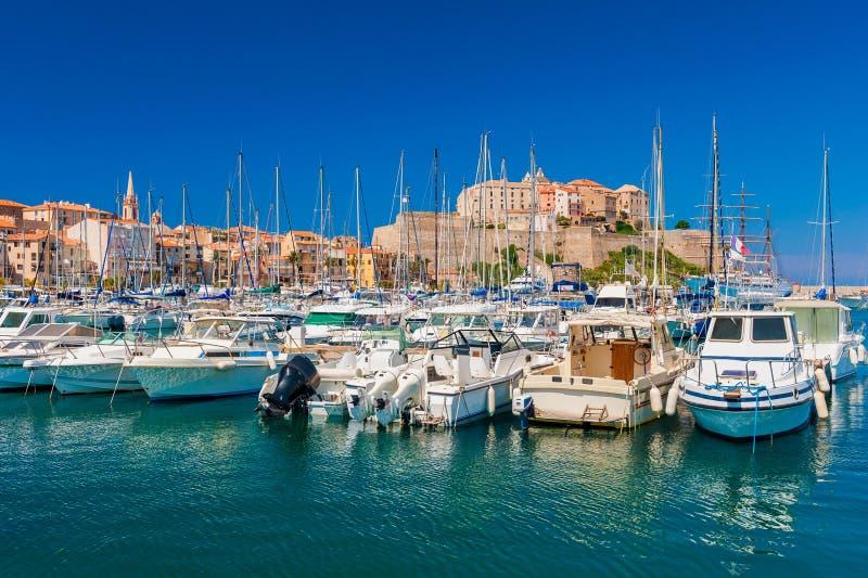 Marina of Calvi Corsica. View on Calvi, Corsica, France as seen from the marina royalty free stock photography