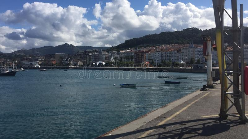 Marina Castro Urdiales. Panoramic view of Castro Urdiales Northern Spain royalty free stock image