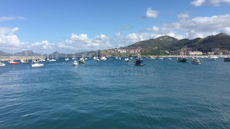 Marina Castro Urdiales. Panoramic view of Castro Urdiales Northern Spain stock image