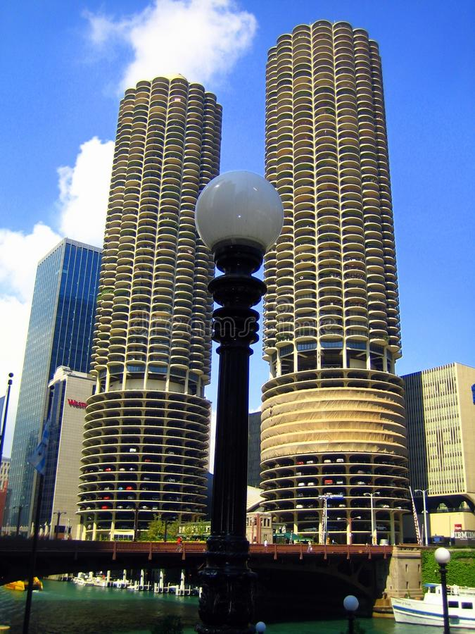 Marina City - complex of two cylindrical towers near the Chicago River royalty free stock photo