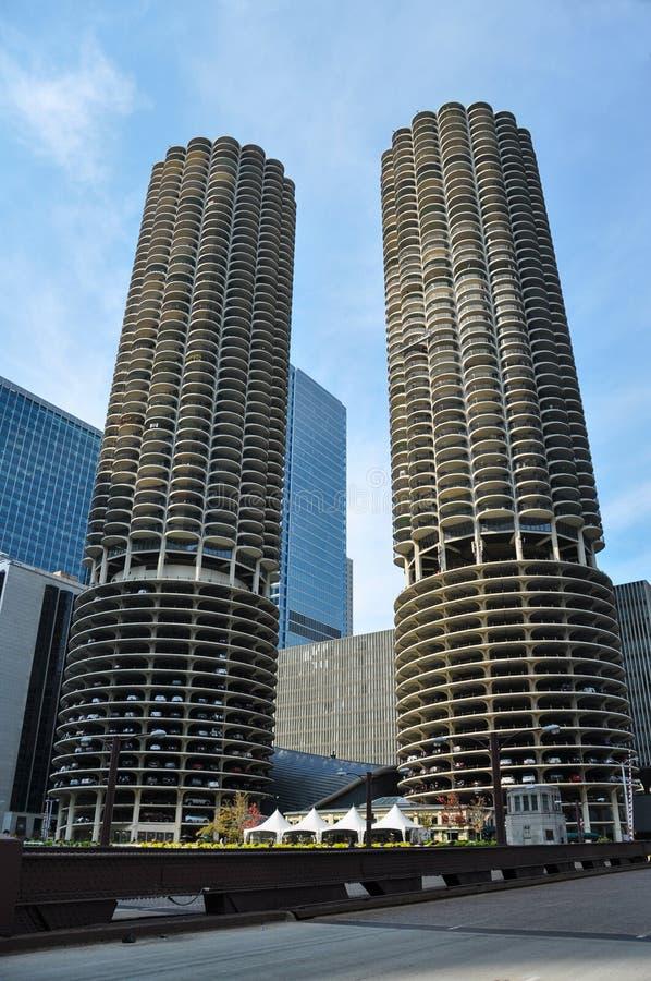 Marina City is een gebouw van de mengen-gebruiks woon-reclamespot complex in Chicago royalty-vrije stock afbeeldingen