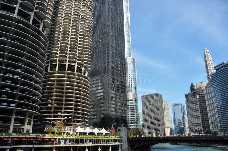 Marina City is een gebouw van de mengen-gebruiks woon-reclamespot complex in Chicago royalty-vrije stock foto's