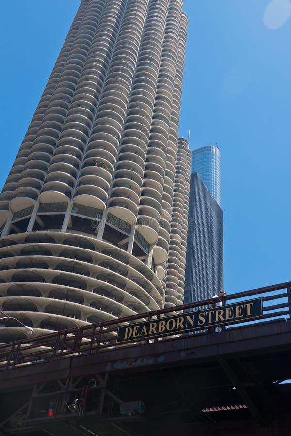 Marina City Towers Chicago. The corncob shaped towers of Marina City in downtown Chicago and Dearborn Street bridge over Chicago river, Illinois, United States stock photography