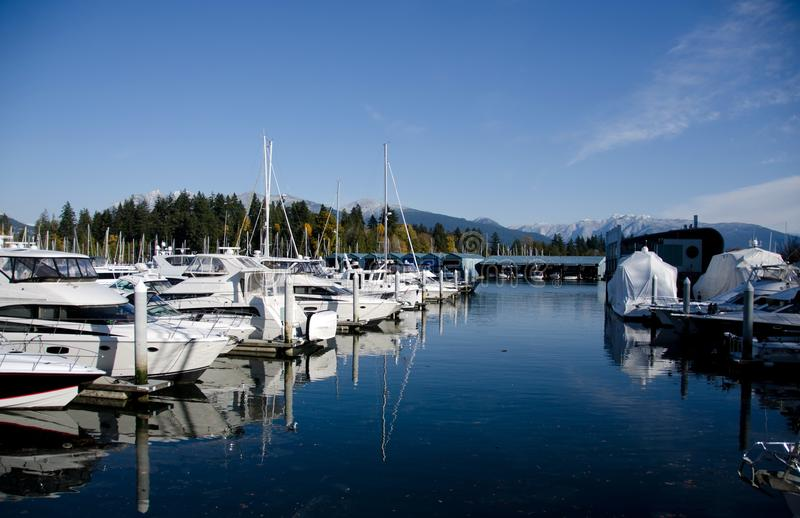 Marina at Coal harbour on a sunny morning - 2 stock image