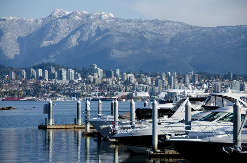 Marina at Coal harbour on a sunny morning - 3 royalty free stock photo