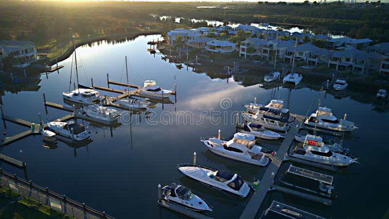 Marina coomera waters gold coast backing onto local pub and shopping center Very popular. Very popular Marina Coomera waters gold coast backing onto local pub royalty free stock photo