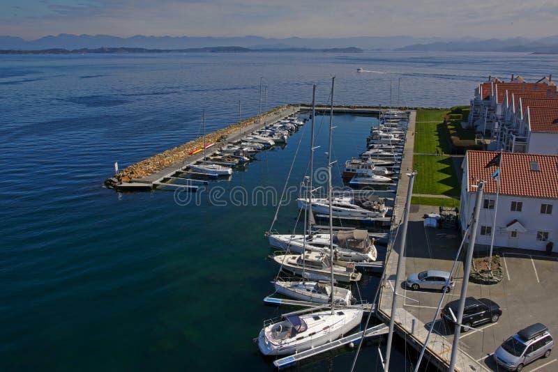 Marina de Grasholmen, vue de Stavanger d'en haut images stock