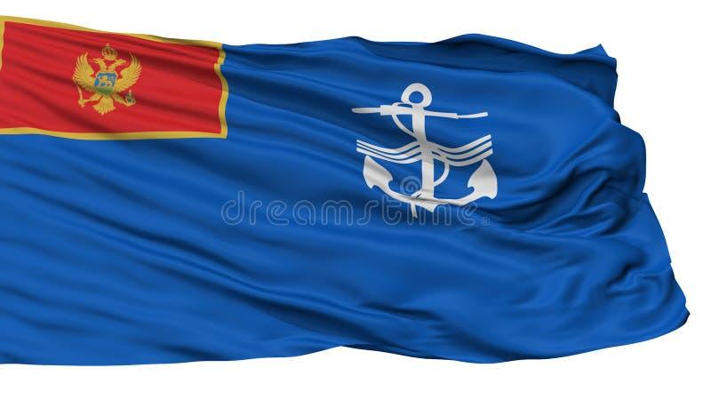 Marina de guerra de la bandera de Montenegro, aislada en blanco libre illustration