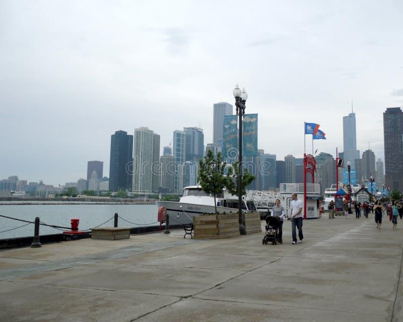 Marina de guerra Pier Chicago Illiinois fotografía de archivo libre de regalías