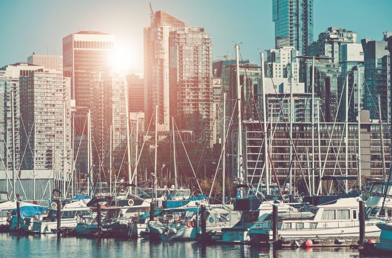 Marina de paysage urbain de Vancouver photographie stock