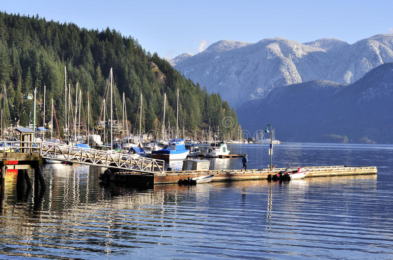 Marina in Deep Cove royalty free stock image