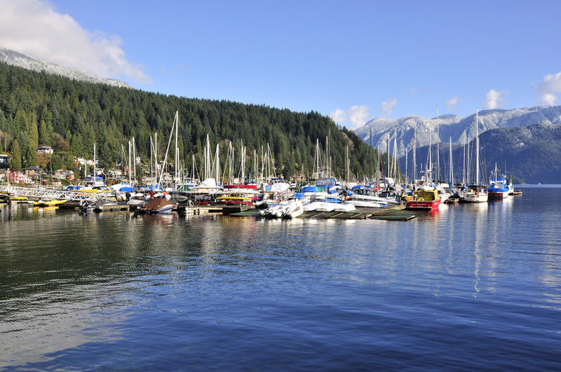 Marina in Deep Cove royalty free stock photography