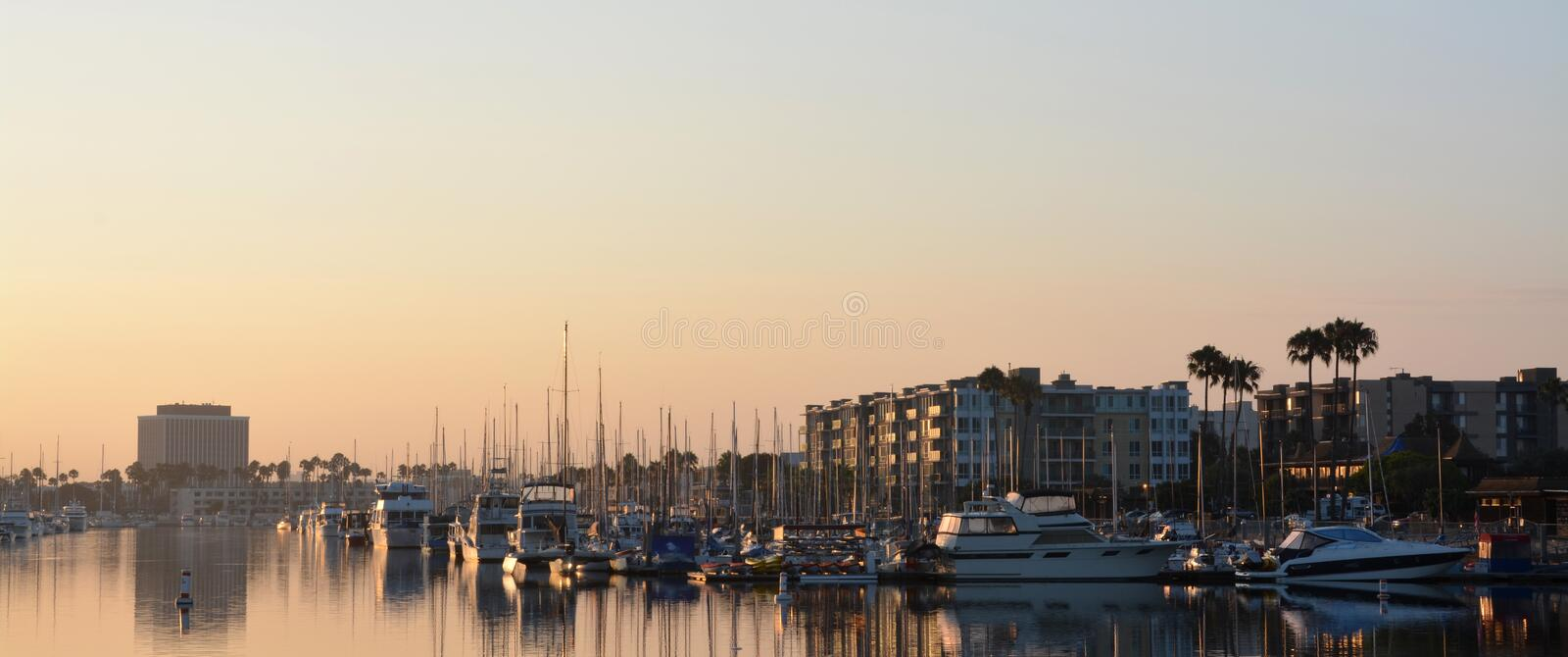 Marina Del Rey at Dawn, Los Angeles USA. stock photos