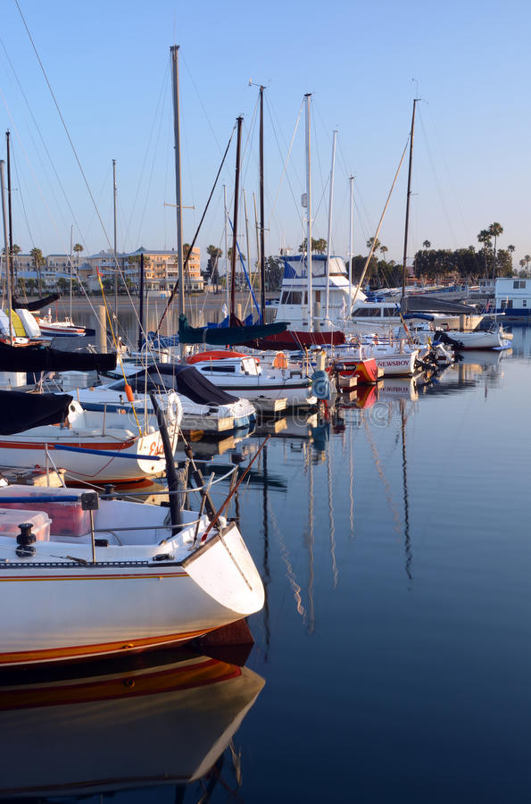 Marina Del Rey Harbour and Yachts at Dawn. royalty free stock photography