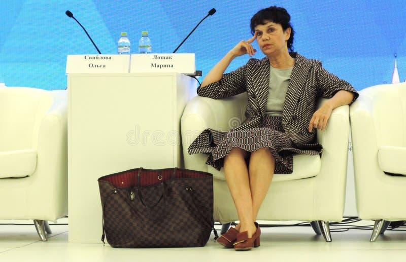 Marina Devovna Loshak, diretor do museu de belas artes nomeado ap?s Pushkin em Moscou imagens de stock