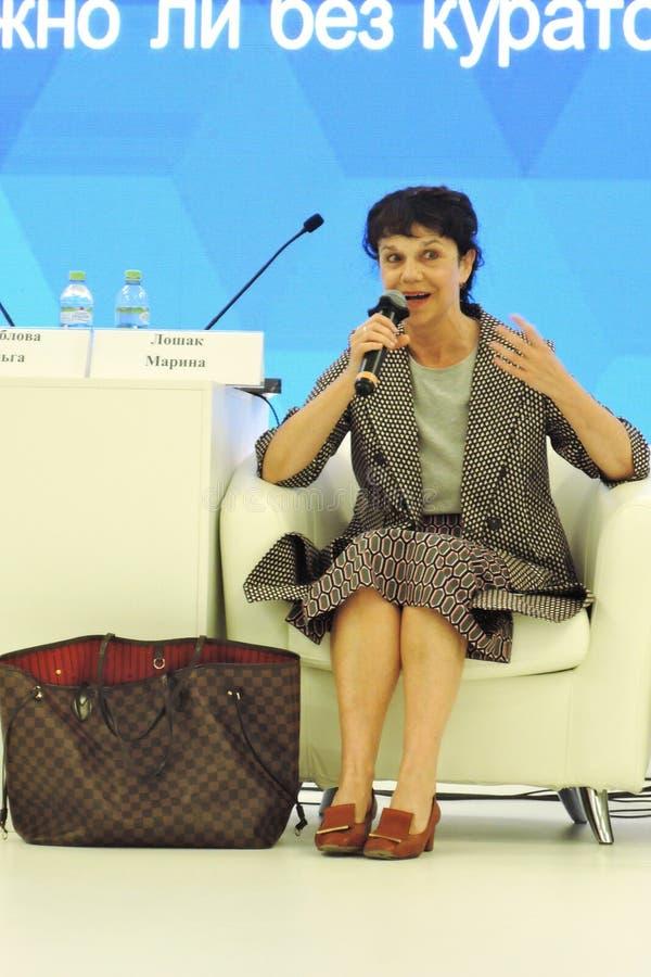 Marina Devovna Loshak, diretor do museu de belas artes nomeado ap?s Pushkin em Moscou foto de stock