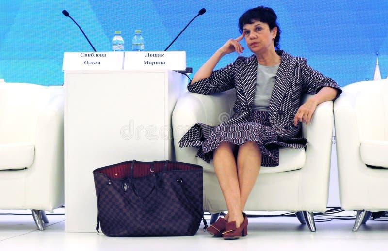 Marina Devovna Loshak, diretor do museu de belas artes nomeado ap?s Pushkin em Moscou fotografia de stock royalty free